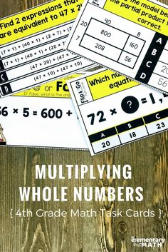 Are you a 4th grade teacher looking for fun multiplication activities for your students? These math task cards are great for teaching and reviewing multiplication of whole numbers. Kids interpret partial products and arrays, solve multiplication equations and use area models. You can use them in math centers, to play math games, for early finishers, as morning work and so much more.
