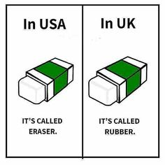 Differences between words in American English and British English. English Class, English Lessons, English Quotes, Learn English, British English, American English, English English, English Mastiff, Daily Facts