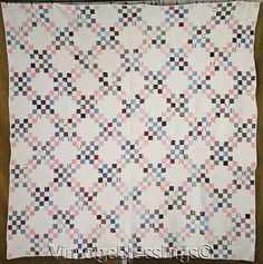 Densely Quilted CLASSIC c1880 Antique Triple Irish Chain QUILT