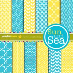 Sun and Sea Digital Scrapbooking Paper Set by SunshineLemons, $4.95