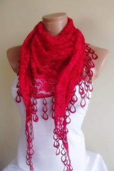 Christmas sale- red lace scarf with lace edge stylish scarf shawl gift for her christmas gift bridal