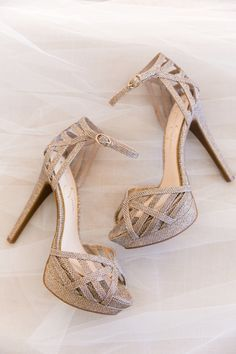 Gold-tinged wedding shoes   by Charleston wedding photographer Dana Cubbage Sparkly Wedding Shoes, Island Weddings, Charleston, Wedding Day, Bling, Sandals, Celebrities, Heels, Boots