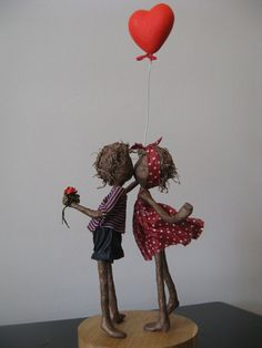Will You be my Valentine. Mixed media Sculpture. Made to order.