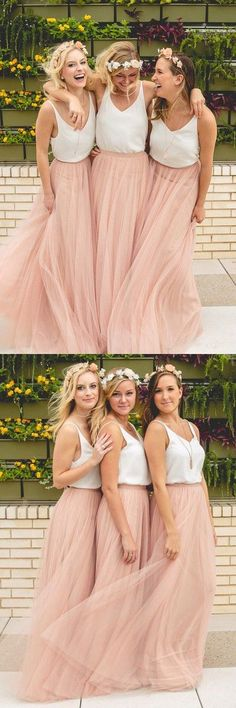 boho style wedding party dresses, bridesmaid dresses, cheap tulle evening dresses.