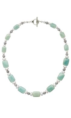 Single-Strand Necklace with Amazonite Gemstone Beads, Sterling Silver Beads and Cultured Freshwater Pearls - Fire Mountain Gems and Beads