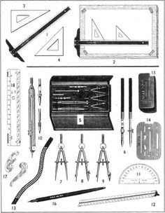 mechanical drawing.  My husband's grandfather was an engineer.  We have his drafting set (figure 5) from the early 1910's.