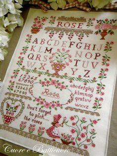 Rose Sampler From Cuore e Batticuore - Cross Stitch Charts - Cross Stitch Charts - Casa Cenina