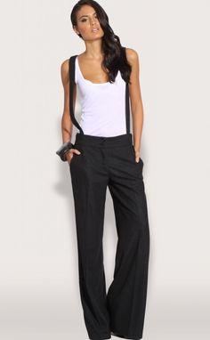 wide leg pants = LOVE. Suspenders... not so much. :)