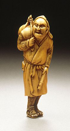 Hunter and Prey, late 18th century  Netsuke, Ivory with staining, sumi, inlays,