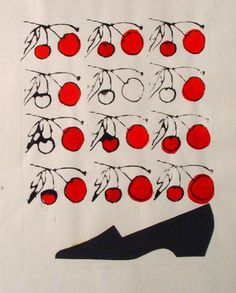 andy warhol 1950s work   Andy Warhol, Shoe with Stamped Cherries, 1950s, ©AWF