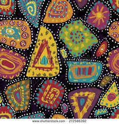 Hand drawn motley tribal seamless pattern in aboriginal style. All objects are conveniently grouped and are easily editable. - stock vector