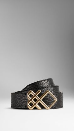 Check Buckle Leather Belt   Burberry