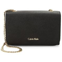 Calvin Klein Saffiano Leather Crossbody (456.400 COP) ❤ liked on Polyvore featuring bags, handbags, shoulder bags, black, cross body, saffiano leather crossbody, calvin klein purse, chain handbags and chain shoulder bag