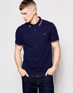 Fred Perry Polo Shirt with Twin Tip in Slim Fit Dark Carbon
