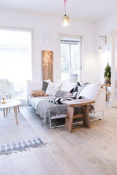 white + natural woods