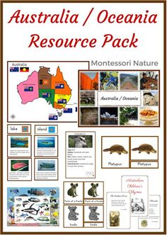 Australia and Oceania are one of the most mysterious and fascinating parts of the world. It is has incredibly rich flora and fauna, wonderful people, breathtaking landscapes, and ancient culture of I Australia For Kids, Australia Animals, Australia Map, Australia Crafts, Australia Continent, Montessori Preschool, Preschool Activities, Geography Activities, Teaching Geography