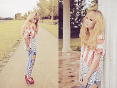 W♥c Old Glory Flag Top, Scawaii Bow Jeans, Carmelletes Loafer Heels