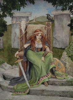 """""""Maeve"""" is a portrait of the warrior queen from Celtic mythology. She is a headstrong and ruthless queen who has ties to the faerie world and plays a crucial role in the Celtic tale of the Cattle Raid of Cooley."""