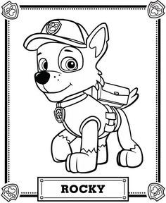 Paw Patrol Rocky from PAW Patrol - paw patrol - Paw Patrol Rocky, Rubble Paw Patrol, Zuma Paw Patrol, Paw Patrol Party, Paw Patrol Birthday, Puppy Patrol, Free Printable Coloring Pages, Coloring Book Pages, Coloring Sheets