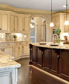 Antique White Country Kitchen antique white cabinets with clipped corners on the bump out sink
