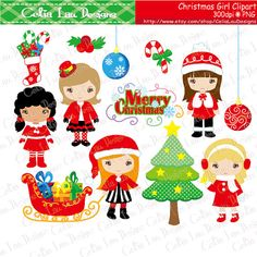 CHRISTMAS GIRLS Clipart Merry Christmas Digital by CeliaLauDesigns