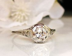 Antique Engagement Ring 0.33ct Old by LadyRoseVintageJewel on Etsy