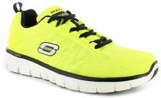 Skechers Synergy Powershield Mens/Gents Extra Lightweight Skech-Knit Mesh Fabric And Synthetic Upper Training Shoes/Trainers With Seamless Upper Super Comfy Memory Foam Insock | Neon Yellow/Black | Wynsors