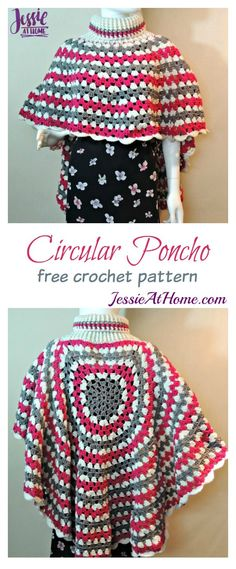 Circular Long Poncho Free Crochet Pattern