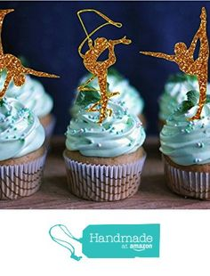 Gymnastic Party Cupcake Toppers Glitter Gymnastics Cupcake Topper Gymnast Birthday Party Girls Birthday Decorations from…