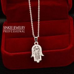 Modest Gold Color Red Blue Black Hollow Hamsa Hand Round Pendant Turkish Design Micro Pave Top Quality Fashion Jewelry Necklace Chain Necklaces Necklaces & Pendants
