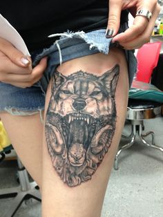 Lovely tattoo,  two thing I love, horned mammels and wolves, really nicely done, so much detail in that shading! love. from fuckyeahtattoos on tumblr