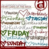 Heart Days of the Week Brushes and Stamps