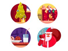 Happy Christmas holiday icons by Kit8 #Design Popular #Dribbble #shots