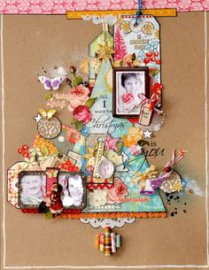 Christmas scrapbook layout: paper tree