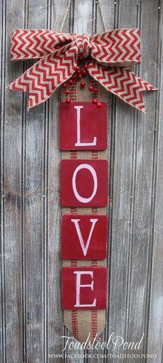 Rustic amour Valentines Tenture murale toile de jute Chevron Couronne Alternative peint à la main