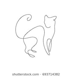 One line design silhouette of wild cat. Simple Line Drawings, Easy Drawings, Animal Graphic, Tattoo Flash Art, Line Illustration, Line Tattoos, Wire Crafts, Cat Tattoo, Cat Drawing