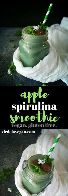 Apple Spirulina Smoothie | vegan, gluten free | viedelavegan.com