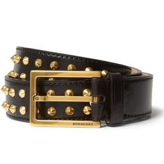 Gold Studded Leather Belt by Burberry Prorsum