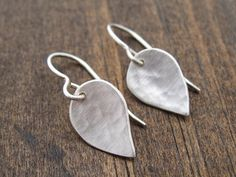 medium hammered leaf earrings by Andrea Wysocki Jewelry