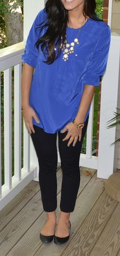 cobalt oversized shirt, skinny black pants, and flats