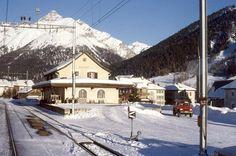 RhB S-chanf Bahnhof, Winter, 1988