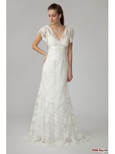 Buy Custom Made High Quality Elegant V-neck Empire Sash Decorated Court Train Lace Wedding Dresses with Short Sleeves Under$200 WD20636 at wholesale cheap prices from Bridal-Buy.com