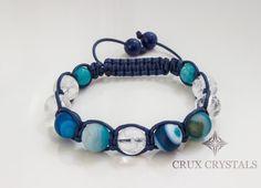 Blue Moon Shamballa Bracelet Dull Polished Blue by CruxCrystals, $19.99