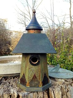 The Turret: Arts and Crafts/Mission Style Bluebird Birdhouse Handmade From Reclaimed Wood and Metal