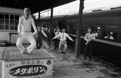 Werner Bischof. 1951. Exercises at train station. Japan