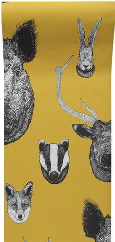 """Lisa Bliss - 'Vestige Wallpaper Mustard' """"From ancient deer to a rather dashing wild boar all are here on this Vestige wallpaper design from Lisa Bliss that fea"""