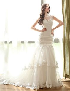 Trumpet/Mermaid Wedding Dress - Ivory Court Train Bateau Tulle – USD $ 165.99