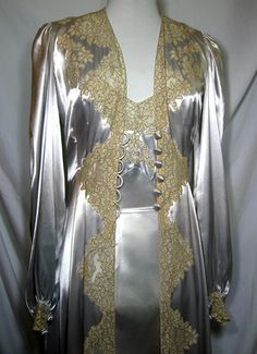 1930s Art Deco Ice Blue Satin and Ecru Lace Dressing Gown Negligee | eBay