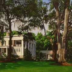 southern plantation home by realist watercolor artist Marlin Rotach