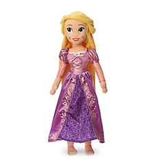 Soft plush Rapunzel dreams of towering adventures. Fully costumed in intricate detail, with long golden hair, satin ribbons, and signature dress accented by glittering flecks, she's sure to tangle with your affections.
